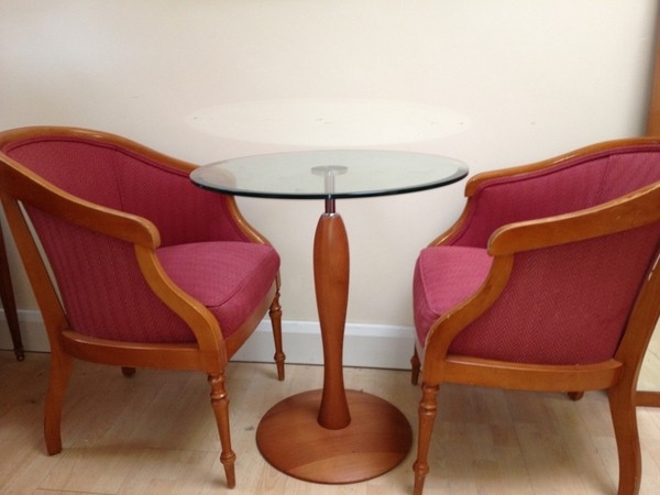 Arm chairs and glass table