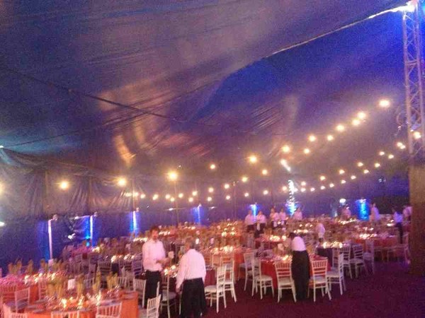 Dining for 700 in a circus tent