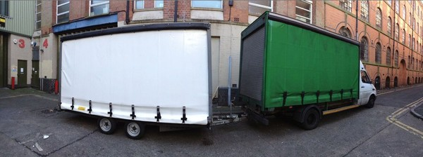 Woodford curtain side trailer being towed