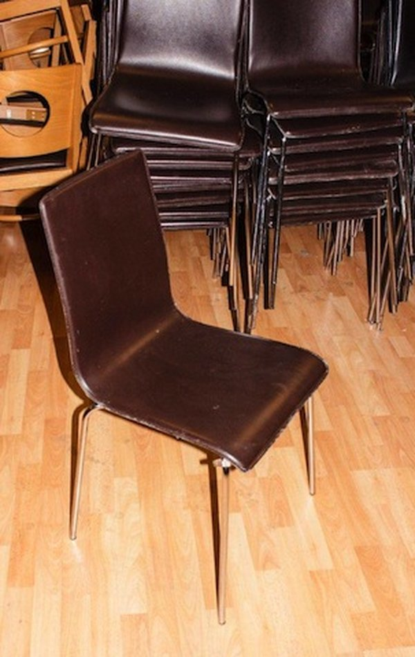 Italian chrome and leather stacking sidechairs