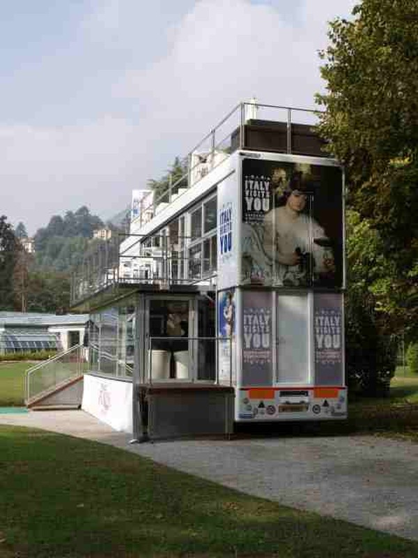 Three story exhibition trailer