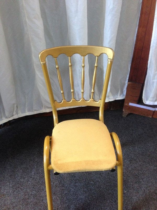 Gilt chair with gold seat pad