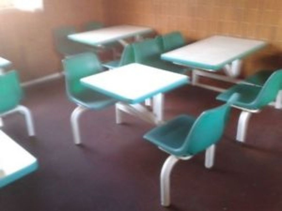 5 x Modular cafe canteen tables and chairs set - dual access ... & Secondhand Chairs and Tables | Fixed Tables and Chairs | 5 x Modular ...
