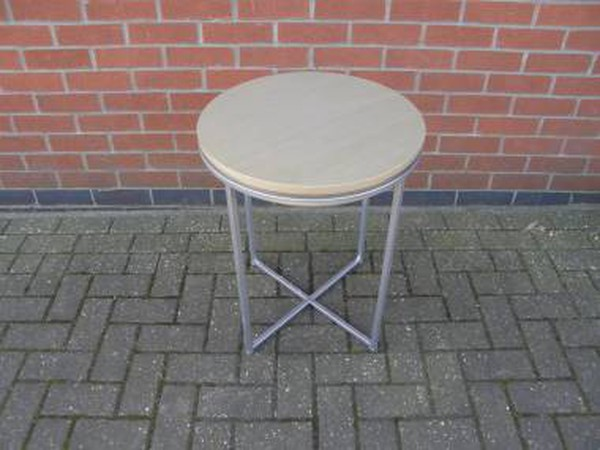 Small Round Metal Frame Drinks Tables with Beech Finish Top
