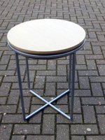 20+ x Small Round Metal Frame Drinks Tables with Beech Finish Top