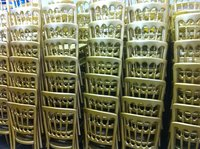 Stacked bentwood chairs