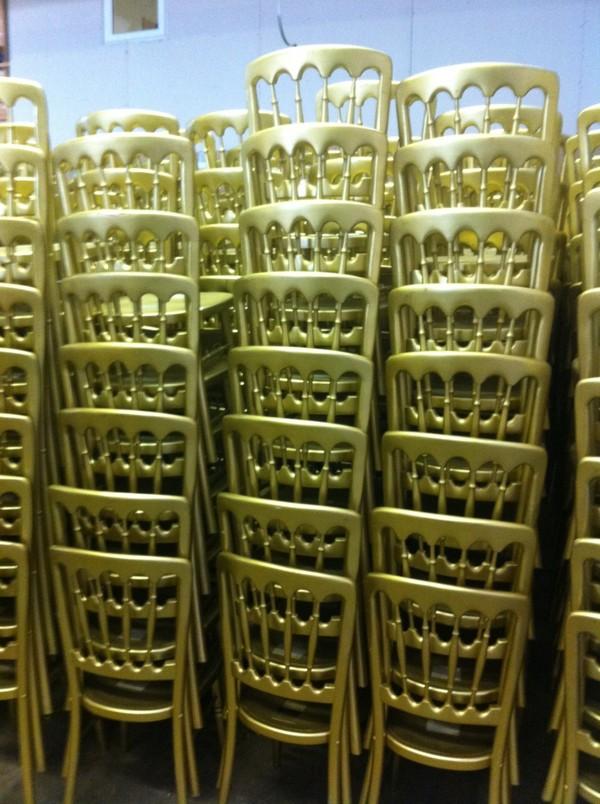 Stacked cheltenham chairs