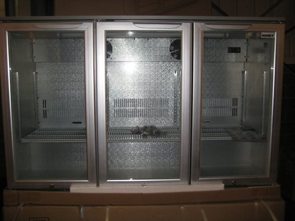 Husky 3 Door Bar Chiller Silver