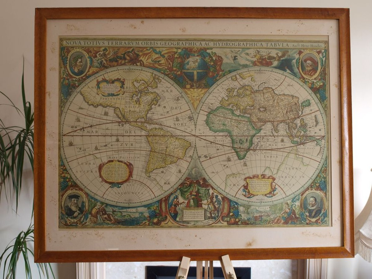 Antiques bazaar art and wall decoration fine world map print framed world map print gumiabroncs Images