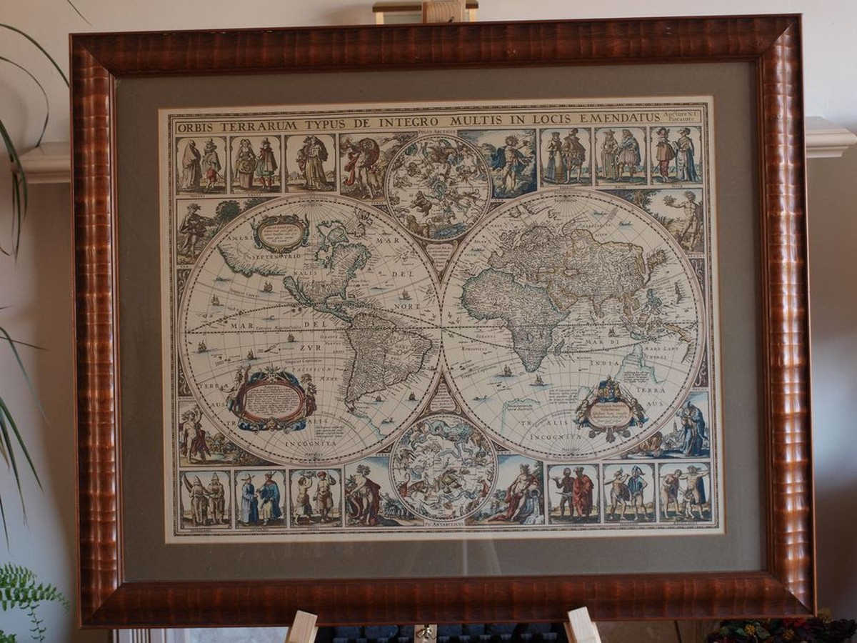 Secondhand vintage and reclaimed miscellany fine old world map framed world map print gumiabroncs Image collections