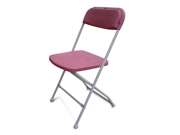 NEW Burgundy Folding Plastic Samsonite Style Chairs
