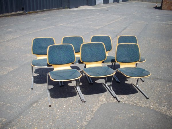 Chrome Frame Wood Seat Chairs