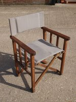 20 x Directors Style Chairs with Fawn Upholstered Seat & Back, Oak Finish Frame