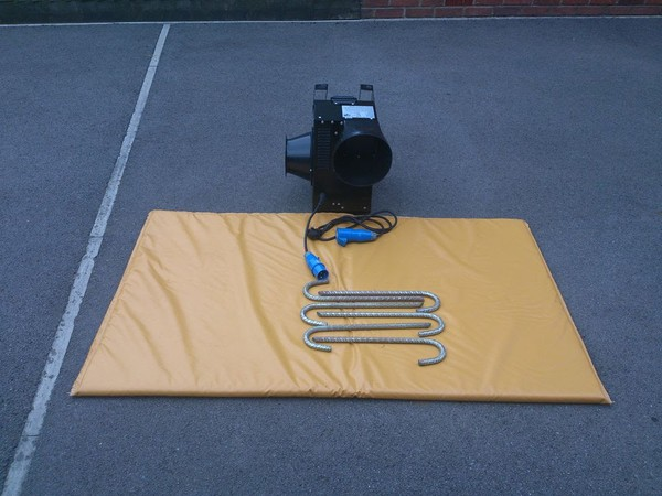 Bouncy castle blower and mat