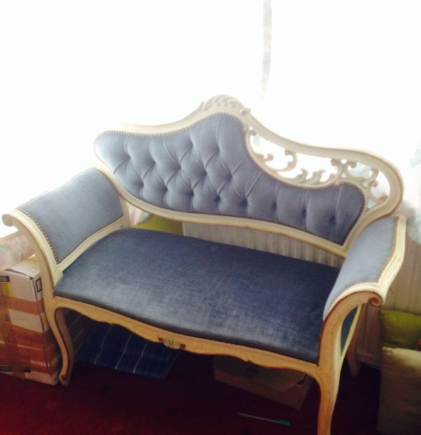 Vintage Chaise Lounge with ivory frame