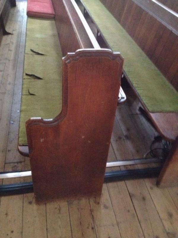 Antique solid oak church pews