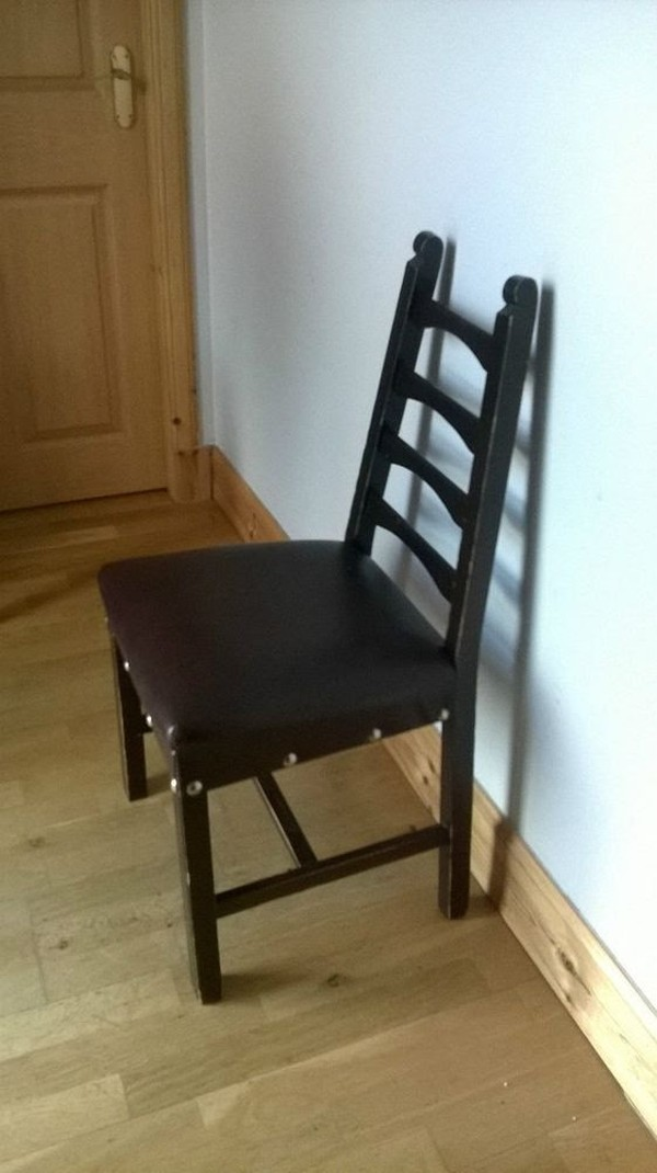 Vintage Leather Seated Gothic Church Chairs