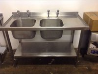 Double Bowl Stainless Steel Sink with Under Shelf