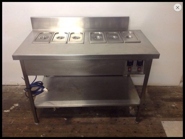Wet well twin Bain Marie / prep bench