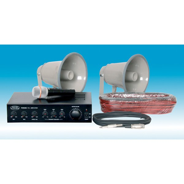 Eagle Horn Speaker PA Kit with 2x 15 W Speakers, Microphone, Cable Hank and Mixer Amplifier