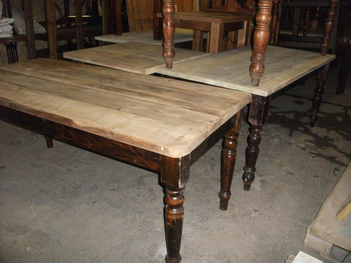 Secondhand Vintage And Reclaimed Shabby Chic Furniture Large Qty Farmhouse Restaurant Dining Tables Old Rustic Look With New Tops Code Rustic Shropshire