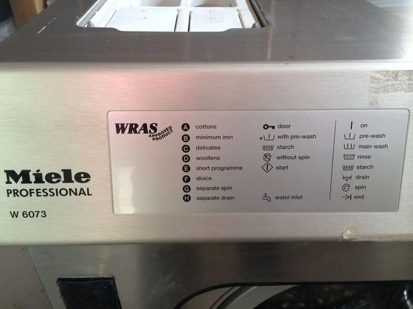 Miele W6073 Commercial 7.5KG Washing machine settings