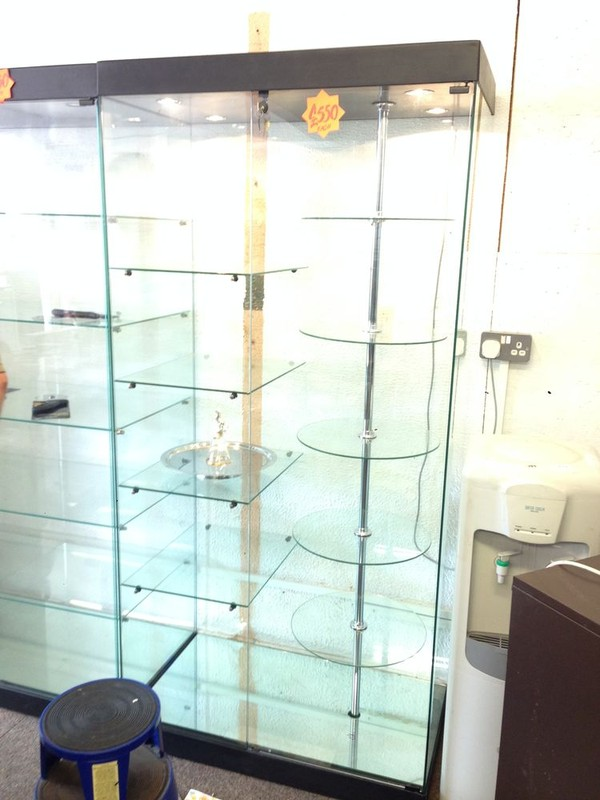 Illuminated Glass Display Cabinet with shelves