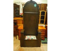 A Dark Solid Oak Edwardian Antique Hall Stand
