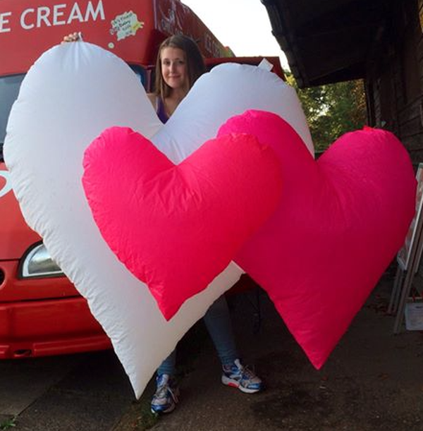 Giant inflatable valentines hearts