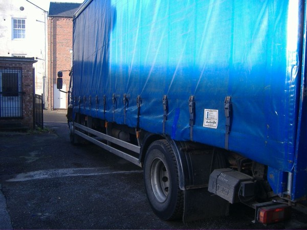 Volvo 18 tonne curtainside lorry with sleeper cab