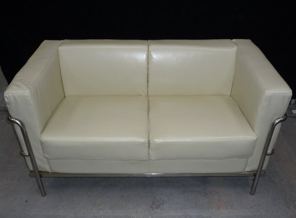 4x Ivory Leather Sofa With Stainless Steel Frame