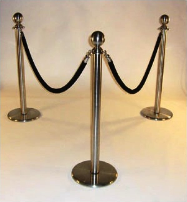 Chrome Rope Barrier Stanchions Queue