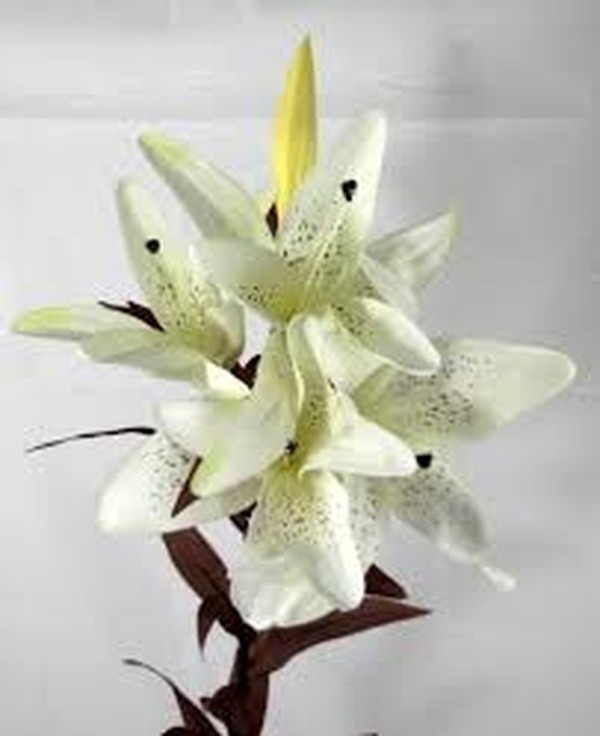 White silk flower stems