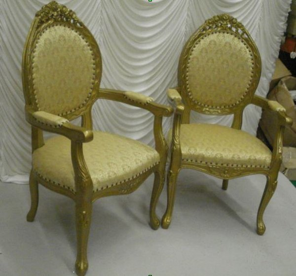 2x Gold Throne Chairs - Birmingham - Secondhand Prop Shop Thrones And Wedding Chairs