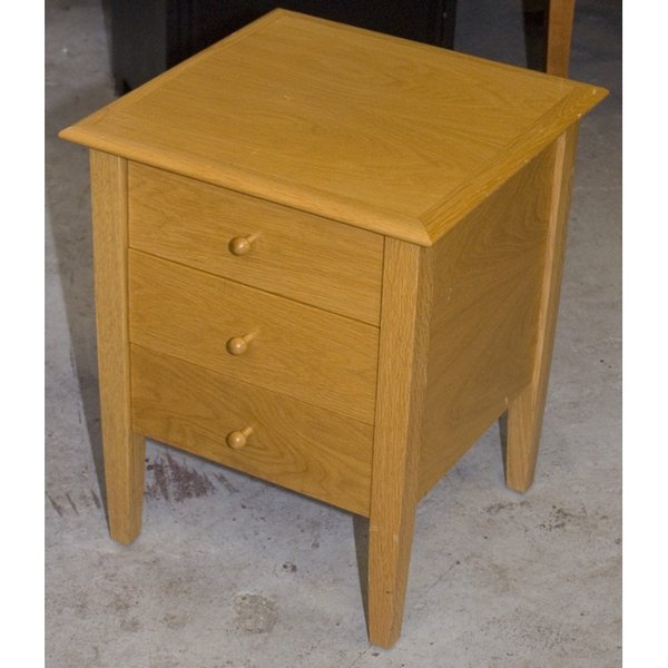 Solid Wood 3 Drawer Bedside Cabinet