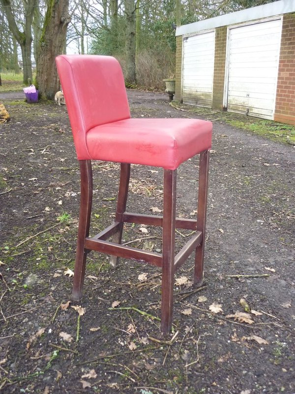 red leather-look bar stools