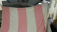 Pink and white walls and roofs linings for traditional marquees