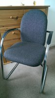 5 Grey Fabric & Chrome Office chairs