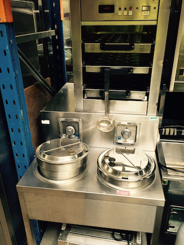 2 x soup station with 2 pot Bain Marie & a soup cup holder