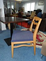 Solid wood side chairs with a chenille fabric pad