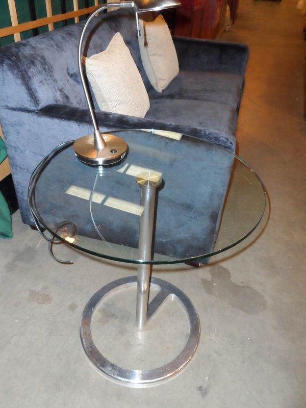 Glass side table with brushed chrome base