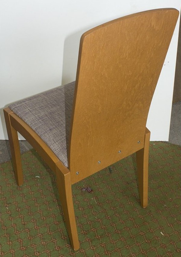 Solid Wood Chair With Light Grey Upholstery