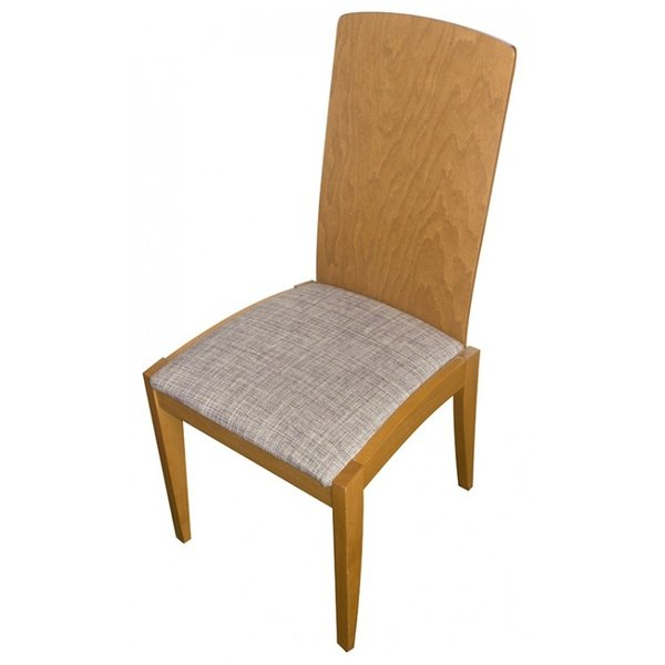 Solid Wood Framed Chair With Light Grey Upholstery