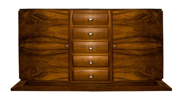 "French Art Deco Credenza by ""Adnet"" Burr Walnut"