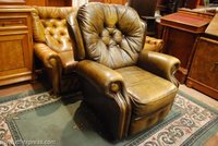 Lovely Chesterfield Leather Recliner Armchair In Dark Tan Brown