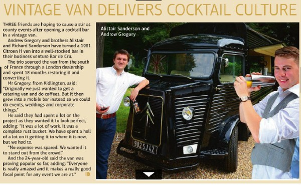 "The Oxford Mail (""In Business"" section) - Vintage van delivers cocktail culture"