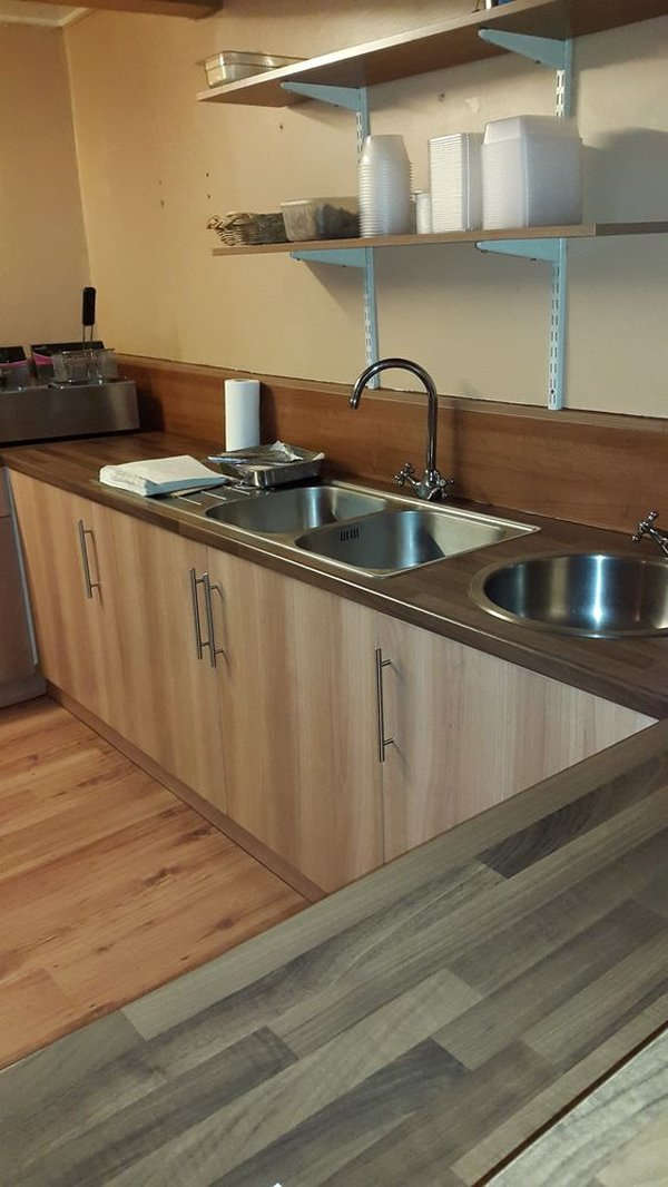 Kitchen Worktop Units with Cupboards and twin Sinks