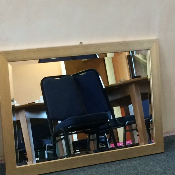 "Two gold colour framed mirrors 3'2"" x 2'2"""