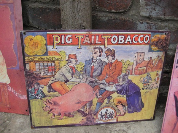 Old shop sign for Pig Tail Tobacco