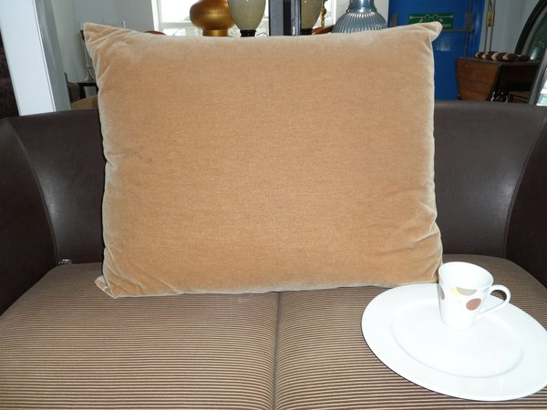 Large Velour Fawn Sofa Cushions